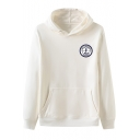 Fashion Letter GET IT WITHOUT REASON Circle Logo Print Long Sleeve Casual Hoodie with Kangaroo Pocket