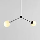 Cream Glass Globe Chandelier Lamp Post Modern Simplicity 2 Light Accent Hanging Light