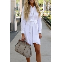 Office Lady Long Sleeve Lapel Collar Plain Bow Embellished Mini White Shirt Dress