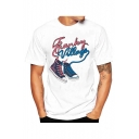 Letter Shoes Printed Short Sleeve Round Neck Slim White Tee