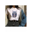 Cool Cat Printed Crewneck Short Sleeve Loose Leisure T-Shirt