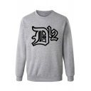 Fashion Unique Letter DK Print Crew Neck Long Sleeve Regular Fitted Pullover Sweatshirt