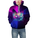 3D Digital Cat Colorblock Long Sleeve Purple Drawstring Hoodie for Couple