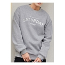 Letter SATURDAY Printed Crewneck Long Sleeve Casual Relaxed Pullover Sweatshirt for Guys