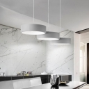 Drum LED Island Pendant Light Contemporary Style Acrylic 3 Lights Luminaire Lighting in Dark Grey/White