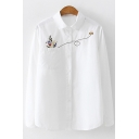 New Trendy Long Sleeve Lapel Collar Flower Embroidered Button Down Shirt