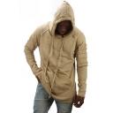 Men's Street Stylish Retro Frayed Hem Splited Side Kangaroo Pocket Simple Plain Loose Long Hoodie