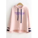 Striped Letter TEENAGE Printed Long Sleeve Asymmetric Hem Ribbon Hooded Tee