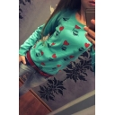 Trendy Cartoon Animal Heart Balloon Printed Long Sleeve Round Neck Pullover Fitted Sweatshirt