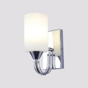 Milky Glass Cylinder Wall Mount Fixture Simplicity 1 Head Wall Sconce in Chrome for Staircase