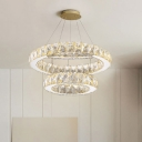 2 Tiers Ring LED Suspended Light Modern Fashion Crystal Hanging Light for Restaurant