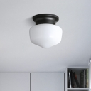 White Glass Schoolhouse Flush Mount Vintage Simple 1 Light Mini Ceiling Light in Black Finish