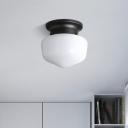 White Glass Schoolhouse Flush Mount Vintage Simple 1 Light Mini Ceiling Light in Black Finish