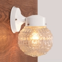 Textured Glass Sphere Lighting Fixture Modern Fashion 1 Head Mini Wall Mount Light in White