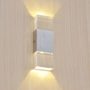 Rectangle LED Wall Light Simple Concise Acrylic Wall Sconce in Sliver for Corridor