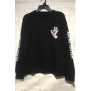 New Stylish Unique Hand Mouth Printed Letter Long Sleeve Crew Neck Black Pullover Sweatshirt