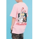 Cute Cartoon Letter Printed Round Neck Short Sleeve Cotton Loose Graphic Tee
