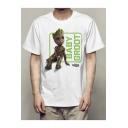 New Stylish Popular Cartoon Groot Printed Round Neck Short Sleeve Men's Basic Graphic T-Shirt
