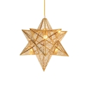 Gold Finish Star Shade Drop Light Contemporary Stainless 1 Light Suspension Light for Kids