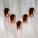 Contemporary Fade Suspension Light Glass Single Head Pendant Lamp in Rose Gold for Foyer