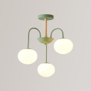 3 Lights Oval Suspended Light Modern Design Frosted Glass Chandelier Light in Green