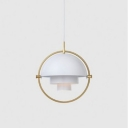 Metal Mobile Shade Pendant Light Contemporary 1 Light Hanging Lamp in White for Bedside