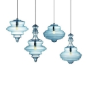 Blue Gyro Hanging Lamp Designers Style Closed Glass Single Light Decorative Pendant Lamp