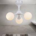 Triple Heads Spherical Ceiling Light Modernism Opal Glass Semi Flush Light Fixtures in White
