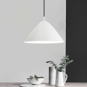 Metallic Tapered Suspension Light Contemporary Single Light Drop Ceiling Lighting in White