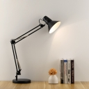 Contemporary Cone Desk Light Adjustable Steel 1 Head LED Desk Lights in Black for Bedroom
