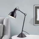 Black Adjustable Arm Desk Lighting Modernism Metallic Standing Desk Lamp for Study Room