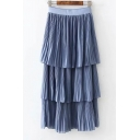 Elastic Waist Basic Simple Plain Midi Chiffon Layered Cake Pleated Skirt