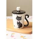 New Trendy Cute Cartoon Cat Design Breakfast Porcelain Coffee Cup Mug Cup 6.6*9.9cm