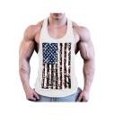 Popular American Flag Print Scoop Neck Racer Back Bodybuilding Fitness Cotton Tank for Men