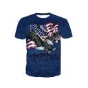 3D Blue America Flag Eagle Print Short Sleeve Fitted T-Shirt for Men