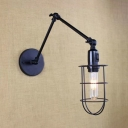 Black Wire Guard Wall Sconce Industrial Adjustable Metallic 1 Head Wall Mount Light for Bedside