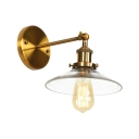 Clear Glass Flared Wall Sconce Vintage Single Light Wall Light Fixture in Brass for Living Room