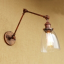 Arm Adjustable Sconce Light with Dome Shade Loft Style Concise Clear Glass 1 Light Wall Light in Rust