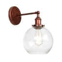 1 Bulb Spherical Wall Mount Light Minimalist Glass Shade Sconce Lighting in Rust Finish for Staircase