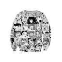 3D Cartoon Character Printed Round Neck Long Sleeve Black Pullover Sweatshirt