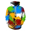 Cool 3D Colorful Oil Paint Pattern Long Sleeve Loose Fit Unisex Pullover Hoodie