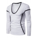 Unique Contrast Stitching Scoop Neck Long Sleeve Men's Slim Fitted T-Shirt