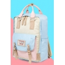 New Stylish Colorblock Buckled Design Canvas School Bag Backpack for Students 25*10*36cm