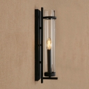 Single Light Candle Wall Lamp with Tube Glass Shade Loft Style Vintage Wall Lighting in Black Finish