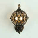 1 Bulb Metal Cage Sconce Light with Globe Glass Shade Industrial Lighting Fixture in Antique Brass