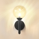 Glass Shade Globe Wall Lamp Modernism Concise Single Light Wall Mount Fixture in Black for Living Room