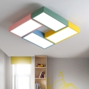 Multicolored Square Flushmount Nordic Style Metallic LED Ceiling Light for Children Bedroom
