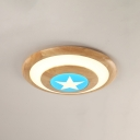Wooden Bowl Shape Flush Light with Star Design Children Bedroom LED Ceiling Fixture in Blue/Pink