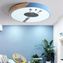 Round Shade LED Flush Light with Giraffe Design Nursing Room Metal Ceiling Light in Blue/Pink