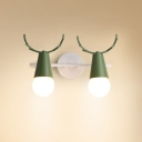 Bare Bulb 2 Heads Sconce Light with Antler Macaron Rotatable Metallic Wall Lamp for Children Room